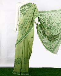 Heavy Dense Chikan Embroidered Saree
