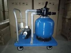 Trolley mounted swimming pool filter
