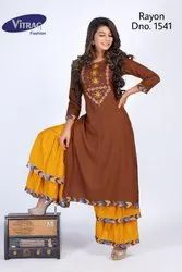 Embroidered Rayon Kurti with Sharara
