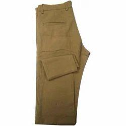 Brown Cotton Mens Plain Narrow Fit Casual Trouser, Size: 28-36