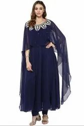 Navy Blue Readymade Churidar Kameez Suit