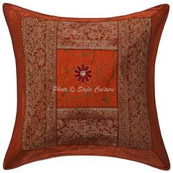 Brocade Patchwork Polydupion Cushion Cover 16x16 Pillow Case