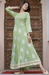 Rayon Long Gown with Hand Work