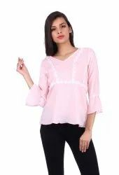 Georgette V-Neck Pink Casual Top