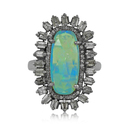 Pave Diamond Baguette Ethiopian Opal Silver Ring Jewelry