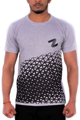 6f70a48635b Men Black And Grey S Printed Crew-neck T-shirt