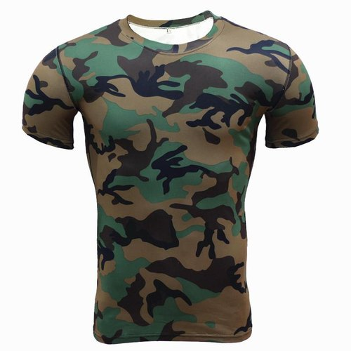 Army Military Camouflage Snake Print Dry Fit Round Neck T Shirt