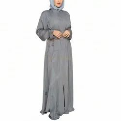Fossil Grey Accordion Pleats Abaya