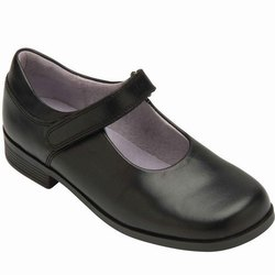 Black Leather School Girls Shoes