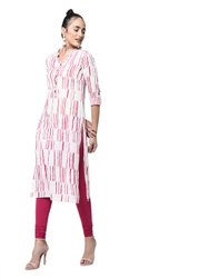 Yash Gallery Womens Cotton Flex Printed Straight Kurta