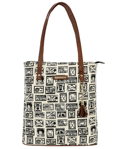 Funk For Hire Ecru Off White Bag With Brown Strap And Trims Women Printed