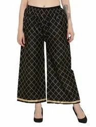 Regular Fit Women's Chikan Embroidery Palazzo Pants