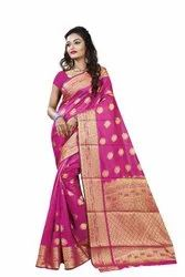 Designer New Heavy Rich Pallu Banarasi Cotton Silk Saree