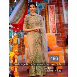 Bollywood Net Beige Saree