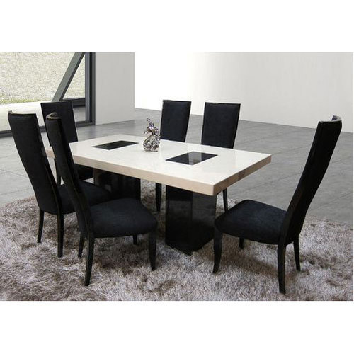 Black And White Marble Top Dining Table Set Rs 32000 Unit Hyfna Interiors Decors Id 20151021533