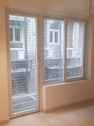 White Casement and Sliding Upvc Combination Windows, Thickness Of Glass: 5 Mm Tuff