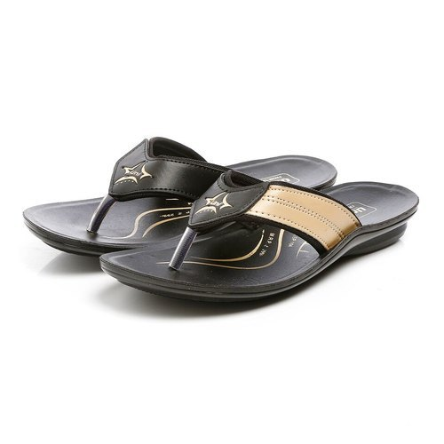 25a39620e34 Unistar Mens Black Beige Synthetic Leather Polyurethane Chappal