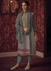 Slate Grey And Beige Handwork Pant Kameez With Chanderi Dupatta