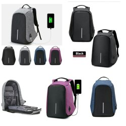 Anti Theft Black Laptop Backpack