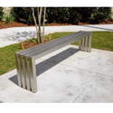 Modern Brushed Stainless Steel Bench