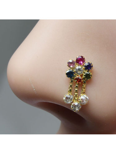 Karizma Jewels Golden And Green And Red Real Gold Nose Stud 14k