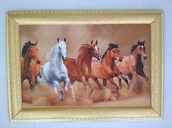 Horse Wooden Painting Red, Size: 21/14