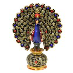 Wooden Blue Neck Small Decorative Peacock