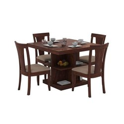Brown Square Wooden Dining Table Set