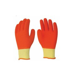 Orange Cotton Knitted Gloves