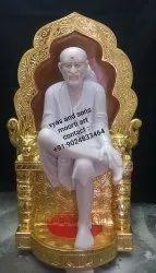 Sai Baba Seated On Singhasan From Marble