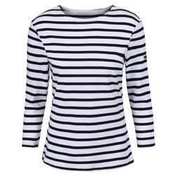 Ladies Full Sleeve Striped T-Shirt, Size: S to XXL
