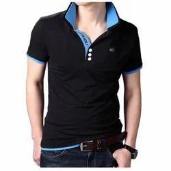 Mens Black Half Sleeve Casual T-shirt