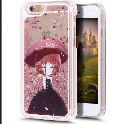 d5626562ea4 Girl Holding Umbrella Liquid Glitter For Back Cover iPhone 6 Plus - Rose  Gold