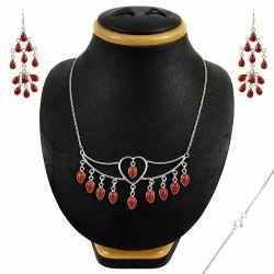 Designer Carnelian Gemstone Silver Jewelry Set