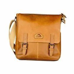 Tan Plain Brown Leather Sling Bag