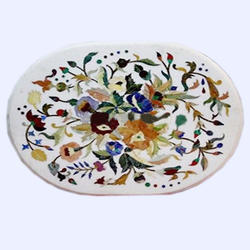 White Marble Round Side Corner Table Top Inlay