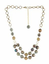 Antique Gold Plated Aluminium Nugget & Beads Chain Necklace
