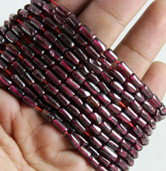 Red Garnet Plain Smooth Pipe Tube Shape Beads