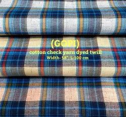GOPI Cotton Check Yarn Dyed Twill Shirting Fabrics