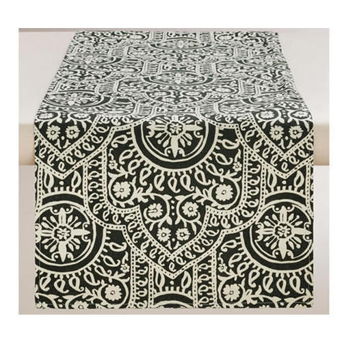 Damask Print Black And White Cotton