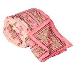 Pink Floral Print Jaipuri Cotton Double Bed Quilt 325