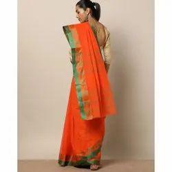 Party Wear Orange Cotton Tant Saree
