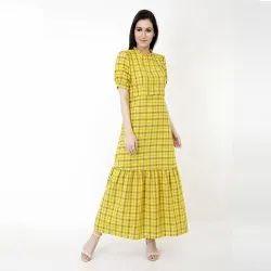Checkered Mustard Maxi Dress