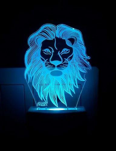 Transparent Acrylic Ajanta Lion Face Code 2024 3d Night Lamp Multi