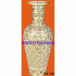 Handicraft White Makrana Marble Flower Pot