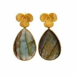 Labradorite Gold Filigree Earrings