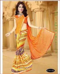 Mulitcolor Printed Silk Saree