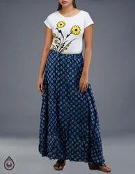 Sloka Weaves Long Rajasthani Soft Cotton Dabu Printed Skirt