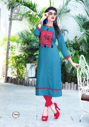 Blue Rayon Kurti Hand Embroidery With Anker Pattern Id 19663102697