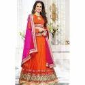 Wedding Wear Orange, Pink Ladies Fancy Lehenga